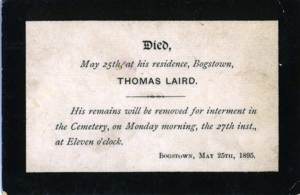 Thomas Laird - 1895 Funeral Card