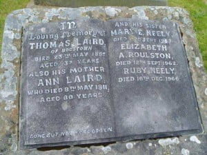 Laird Family Plot - Headstone Londonderry Cemetery Northern Ireland